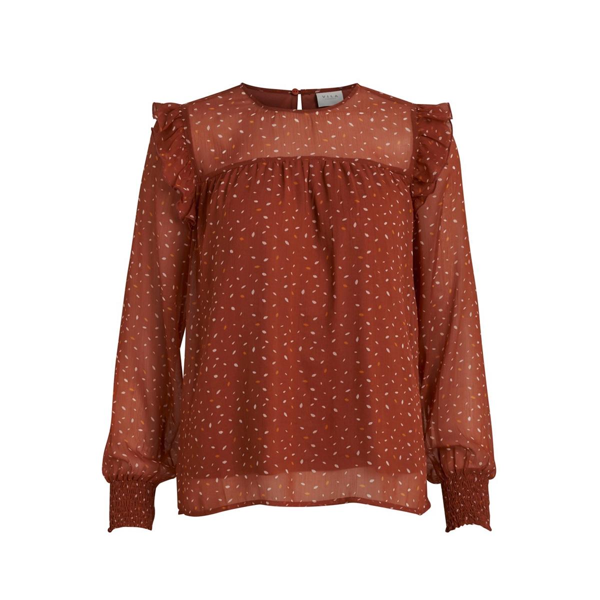 viuta l/s top 14058733 vila blouse copper brown/dots