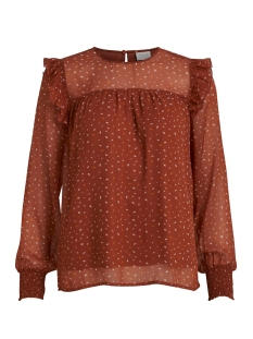 Vila Blouse VIUTA L/S TOP 14058733 Copper Brown/DOTS