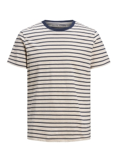 Jack & Jones T-shirt JJESTRIPED TEE SS CREW NECK STS 12164640 White Melange/SLIM FIT