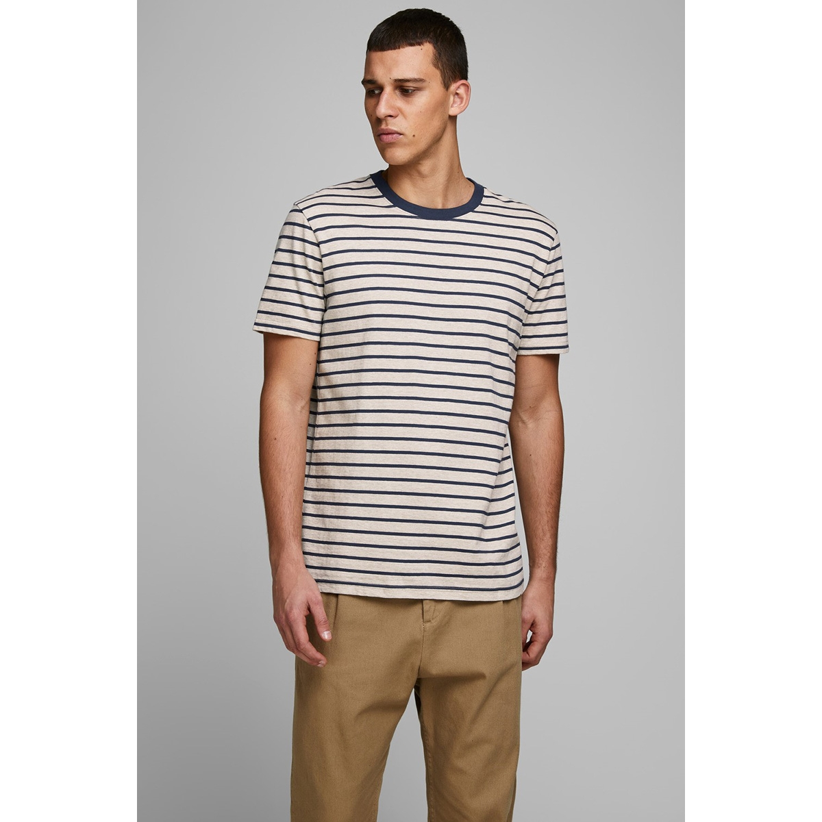 jjestriped tee ss crew neck sts 12164640 jack & jones t-shirt white melange/slim fit