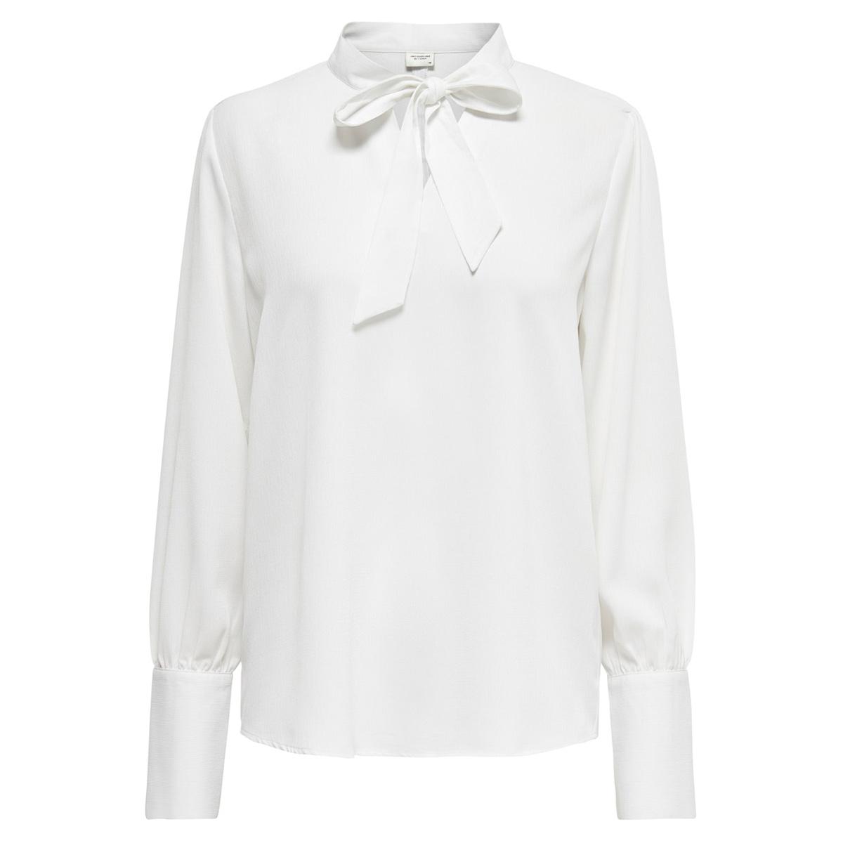 jdyaubrey l/s bow-neck top wvn 15198853 jacqueline de yong blouse cloud dancer