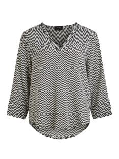Object T-shirt OBJBAY 3/4 TOP AOP SEASONAL 23028469 Black/WHITE ZIGZ