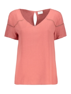 Vila T-shirt VIMERO DETAIL S/S TOP/SU - FAV 14055957 Dusty Cedar