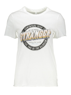 Only T-shirt ONLLUCY LIFE REG S/S STRANGER TOP J 15213077 Bright White/STRANGER
