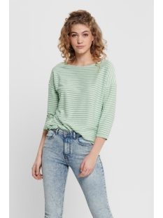 onlelly 3/4 boatneck top jrs 15173186 only t-shirt frosty green stripes