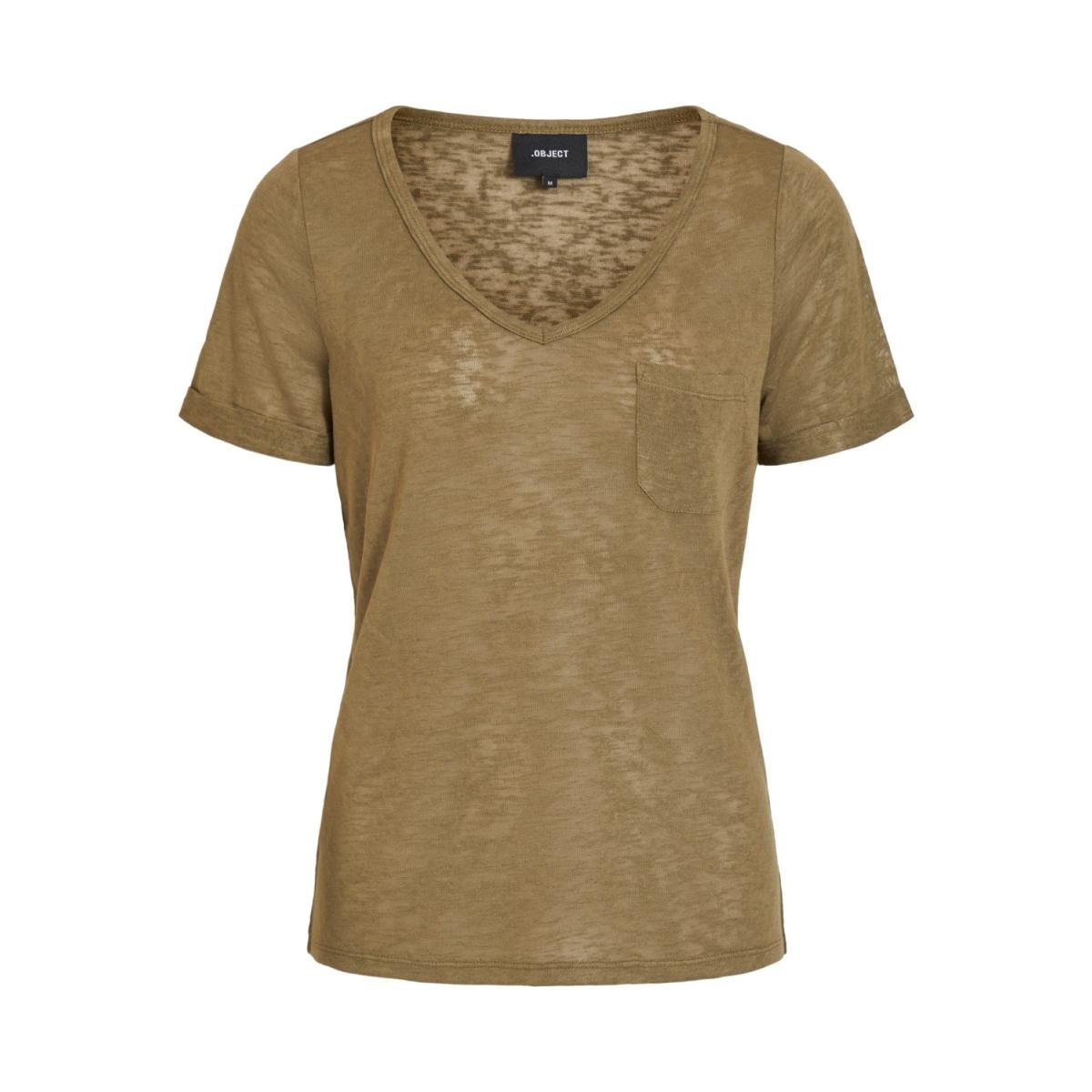 objtessi slub s/s v-neck noos 23023816 object t-shirt burnt olive