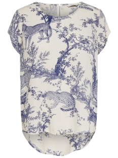Only T-shirt ONQVIKA SS TOP WVN 15203630 White Swan/ANIMAL BLU