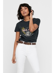 jdylarock life s/s print top jrs ex 15198818 jacqueline de yong t-shirt black/rock fever