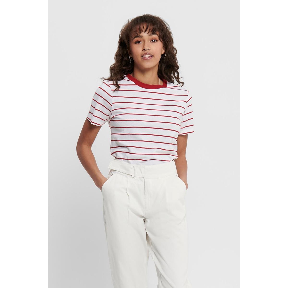 jdybest life s/s stripe top jrs 15195986 jacqueline de yong t-shirt bright white/scarlet sa