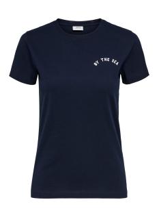 jdyhappy life s/s print top denim j 15193943 jacqueline de yong t-shirt sky captain/sea chest