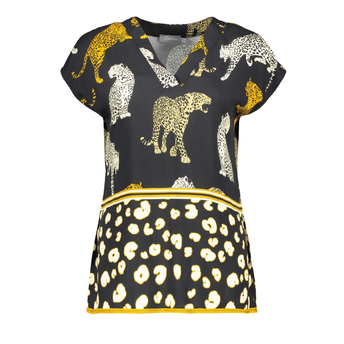 top aop leopard 03249 geisha t-shirt black/sand combi