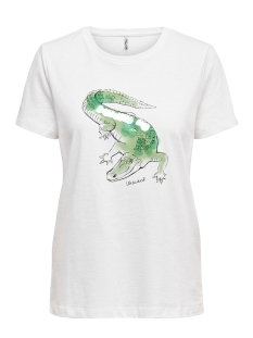 onlcaty life reg s/s animal top box 15199846 only t-shirt bright white/crocodile