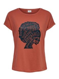 Jacqueline de Yong T-shirt JDYALANA LIFE S/S PRINT TOP JRS 15204913 Hot Sauce/AFRICA