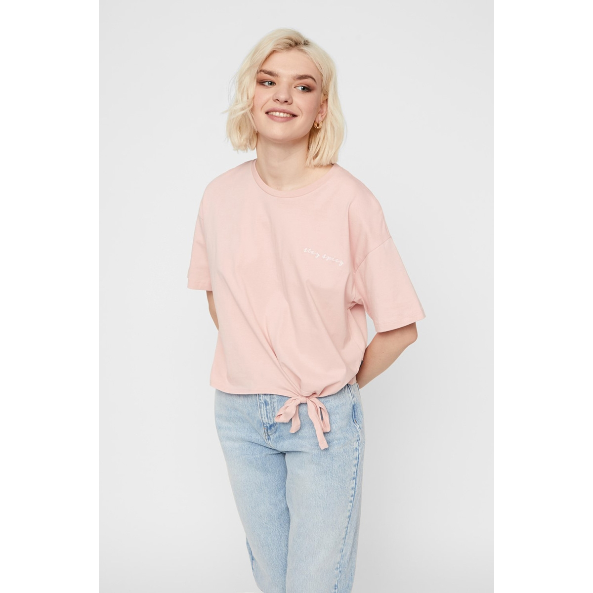 nmkick 2/4 top bg 27011007 noisy may t-shirt silver pink/stay spicy