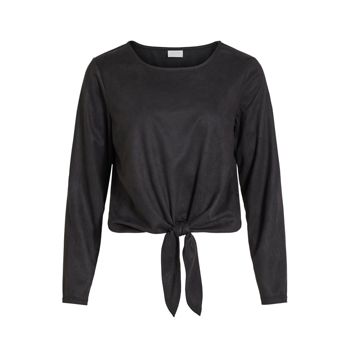 visuella l/s top 14056952 vila t-shirt black