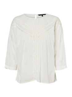 Vero Moda Blouse VMTIFFANY 3/4 LACE TOP WVN 10225586 Snow White/SOLID