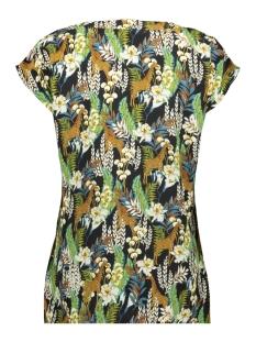 top v neck aop s s 0319920 geisha blouse black/camel combi