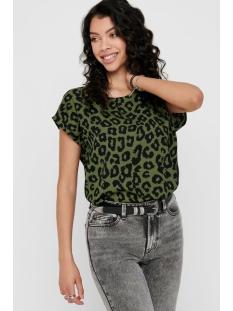Jacqueline de Yong T-shirt JDYSEDA S/S TOP WVN 15195701 Martini olive/BLACK LEO