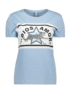 Only T-shirt ONLADIOS S/S TOP JRS 15176585 Cashmere Blue/CHEETAH