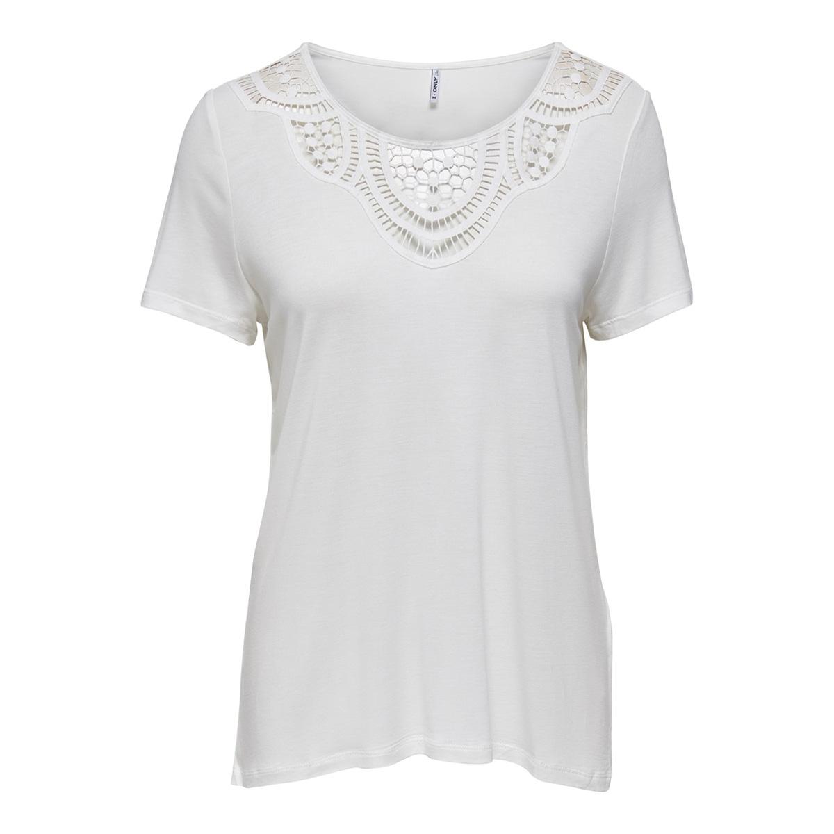 onllovely life s/s crochet top jrs 15202251 only t-shirt cloud dancer