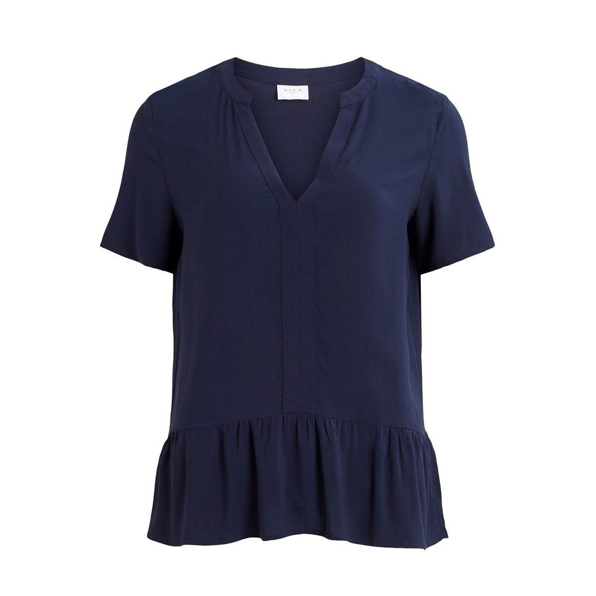 vilausa v-neck s/s top/su 14058035 vila t-shirt navy blazer