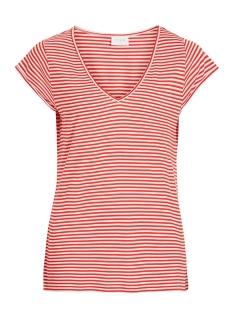 Vila T-shirt VISCOOP TOP - FAV 14055569 Flame Scarlet/WHITE STRIPE