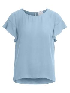 Vila T-shirt VILUCY S/S FLOUNCE TOP - FAV 14045856 Ashley Blue