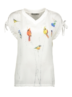 Geisha T-shirt TOP V NECK BIRDS S S 03106 White