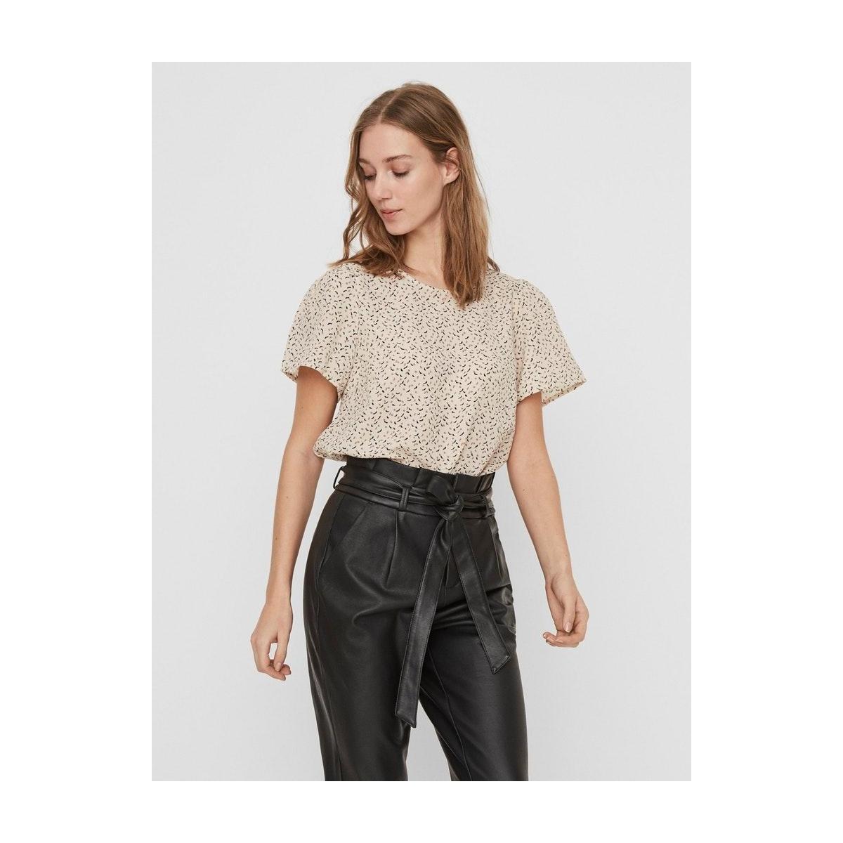 vmkanya ss o-neck top vma 10227476 vero moda t-shirt birch/kanya brow