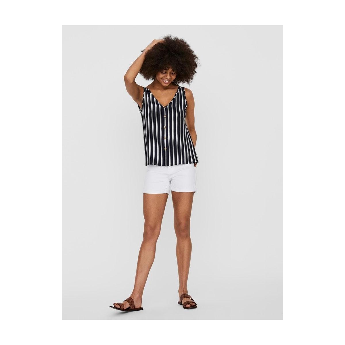 vmsasha sl button top noos 10227138 vero moda top navy blazer/snow white
