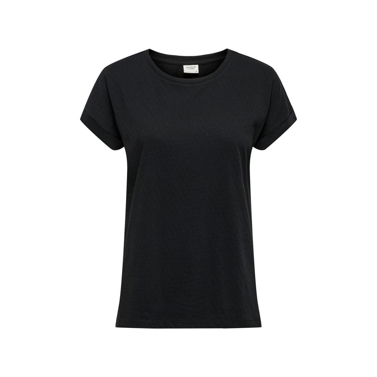 jdypastel life s/s fold up top jrs 15200610 jacqueline de yong t-shirt black