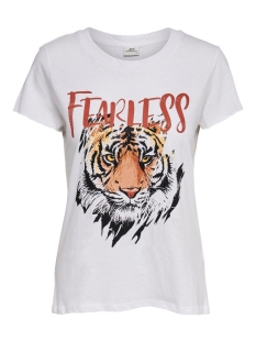 Jacqueline de Yong T-shirt JDYDIANA LIFE PRINT TOP JRS 15204478 Bright White/FEARLESS