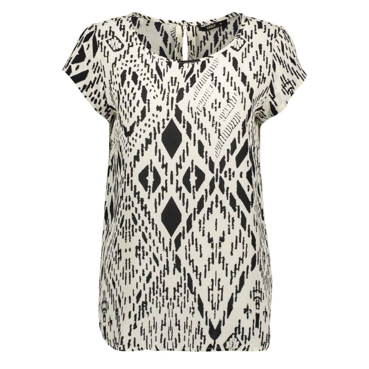 onlnova lux s/s top aop wvn 10 15202417 only t-shirt cloud dancer/tribal