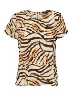 Vero Moda T-shirt VMSASHA SS ZIP TOP COLOR 10225336 Meerkat/KOURTNEY