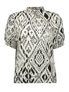 ONLNOVA LUX S/S SMOCK TOP AOP WVN 15202552 Cloud Dancer/TRIBAL TIL