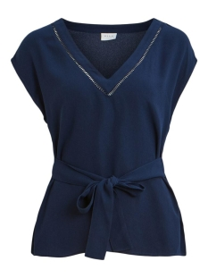 Vila T-shirt VIMIRENZA V-NECK S/S TOP 14057512 Navy Blazer