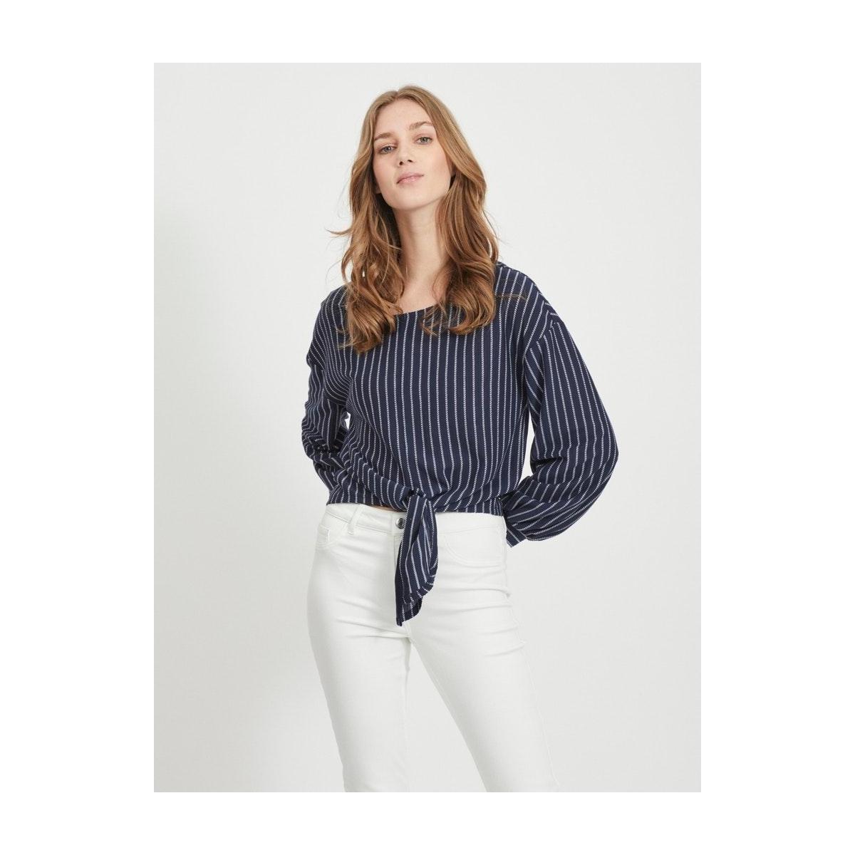 vibuba l/s top/su 14057263 vila t-shirt navy blazer/white
