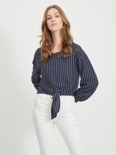 Vila T-shirt VIBUBA L/S TOP/SU 14057263 Navy Blazer/WHITE