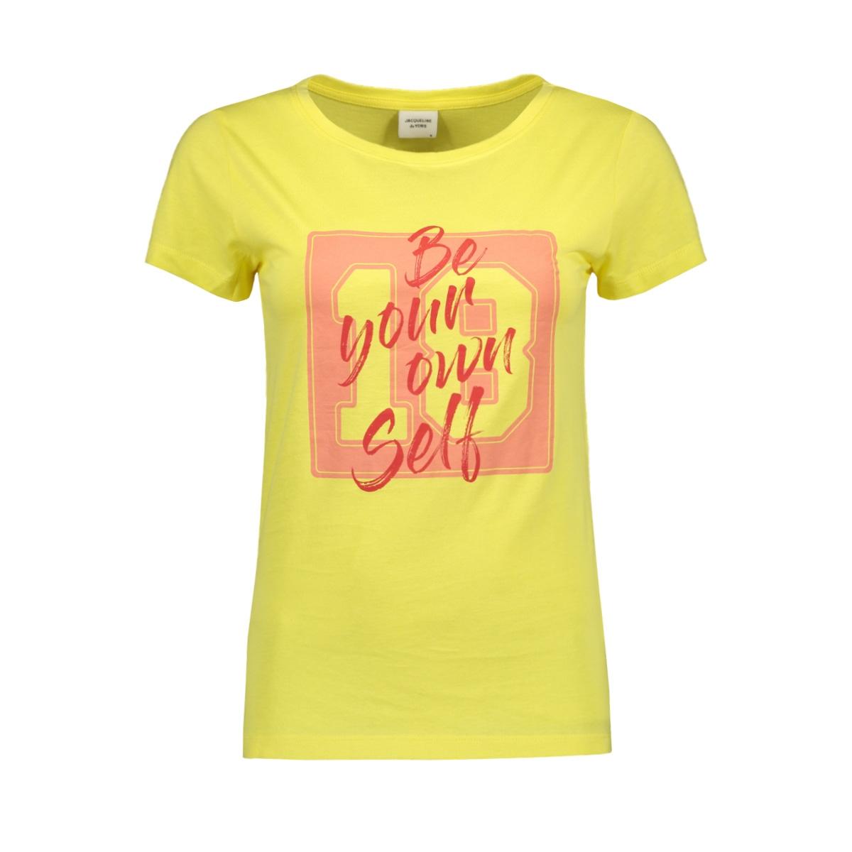 jdychicago life s/s print top jrs 15195298 jacqueline de yong t-shirt celandine/self white