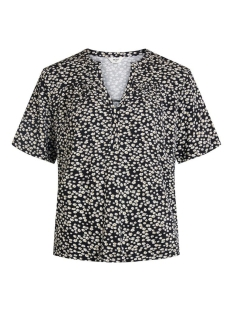 Object T-shirt OBJMERVE S/S TOP  A REPEAT 23034663 Black/SMALL FLOWER