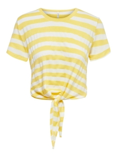 Only T-shirt ONLARLI S/S KNOT TOP JRS NOOS 15178088 Lemon Drop/CLOUD DANC
