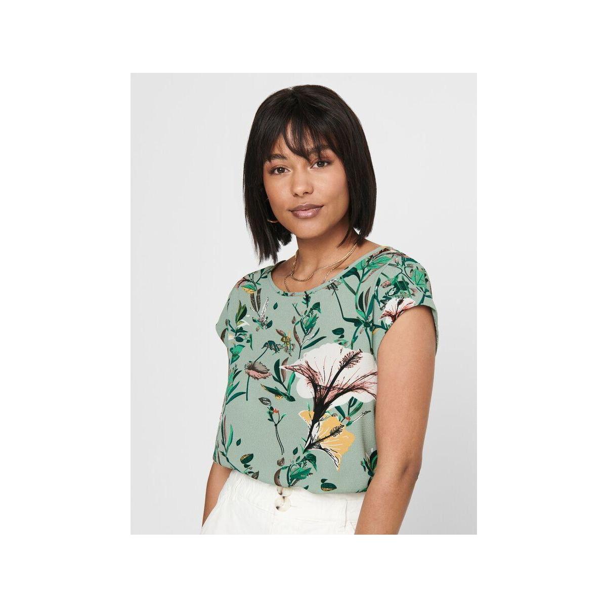 onlvic ss aop top noos wvn 15161116 only t-shirt granite green/dida flower