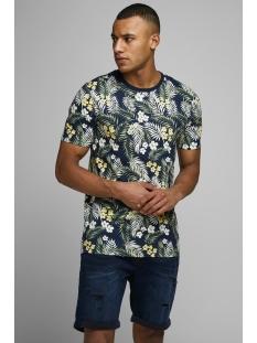 Jack & Jones T-shirt JORTROPIC AOP TEE SS CREW NECK 12164426 Navy Blazer/SLIM