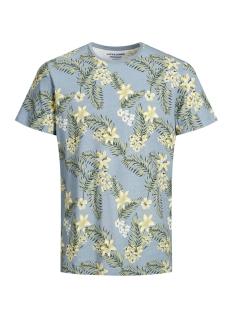 jortropic aop tee ss crew neck 12164426 jack & jones t-shirt ashley blue/slim