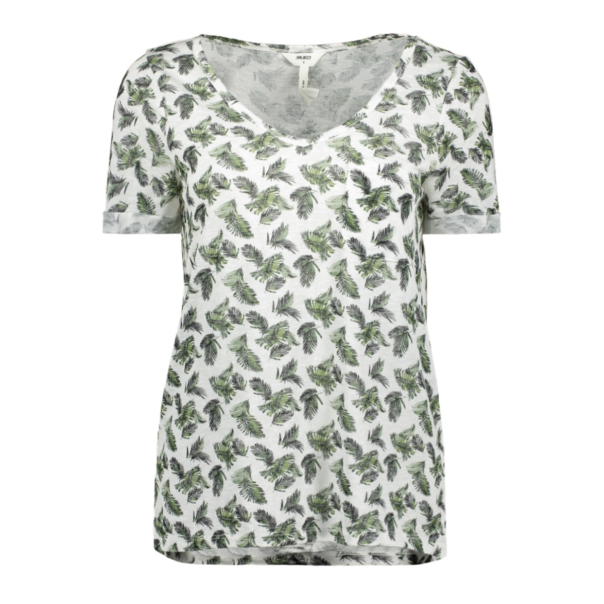 objtessi slub s/s v-neck aop season 23029730 object t-shirt gardenia/small palm