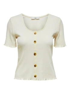 Only T-shirt ONLJUDITH LIFE S/S BUTTON TOP JRS N 15198277 Eggnog