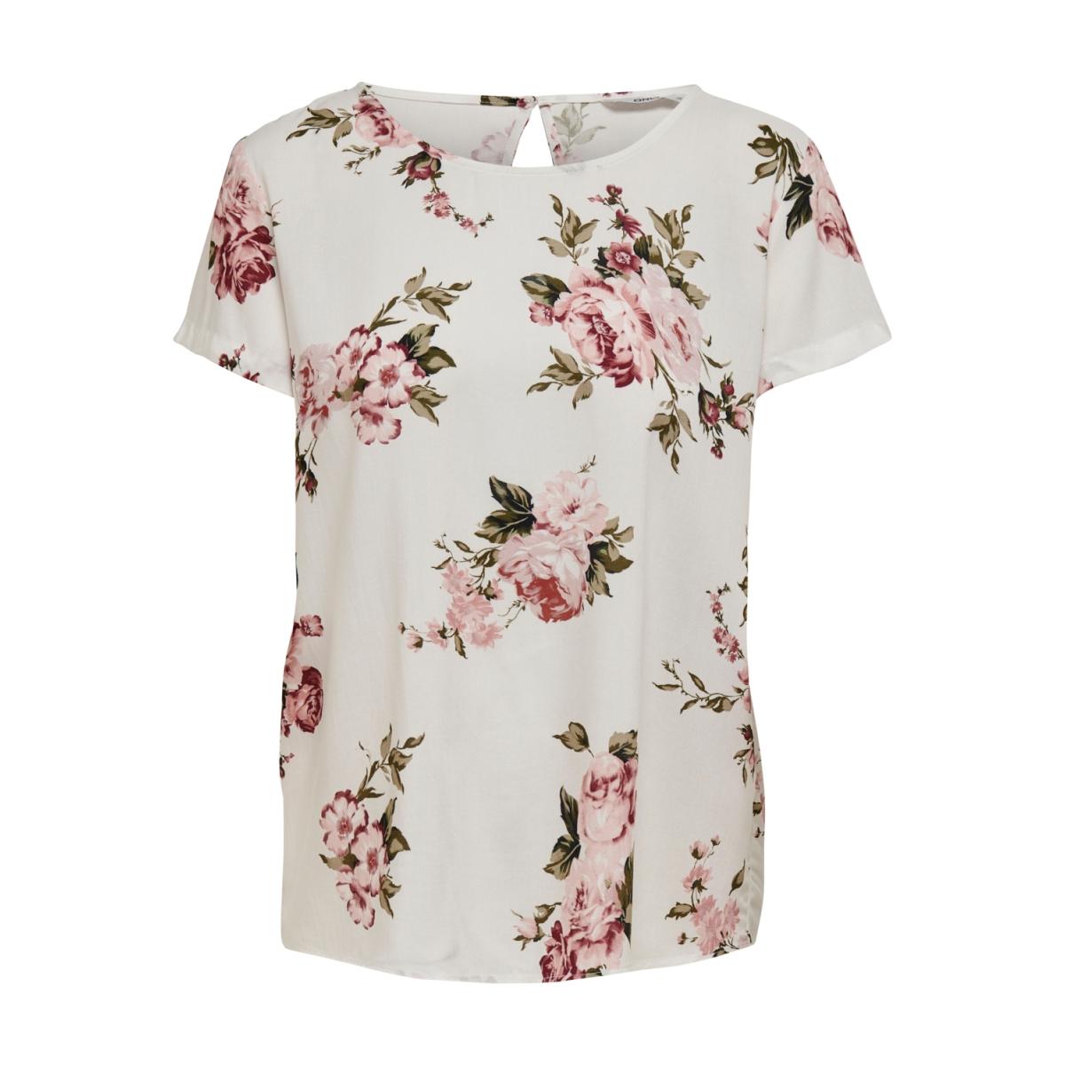 onlfirst one life ss aop top noos w 15198608 only t-shirt cloud dancer/rose flower