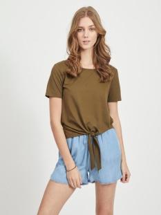 Vila T-shirt VIWHISPER S/S TIE TOP/SU 14057443 Dark Olive