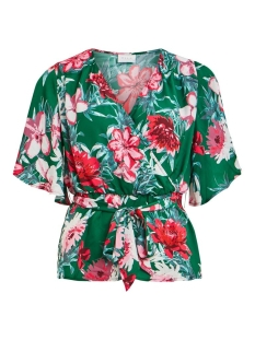 viella 2/4 top/dc 14058726 vila blouse ultramarine green/aop flower