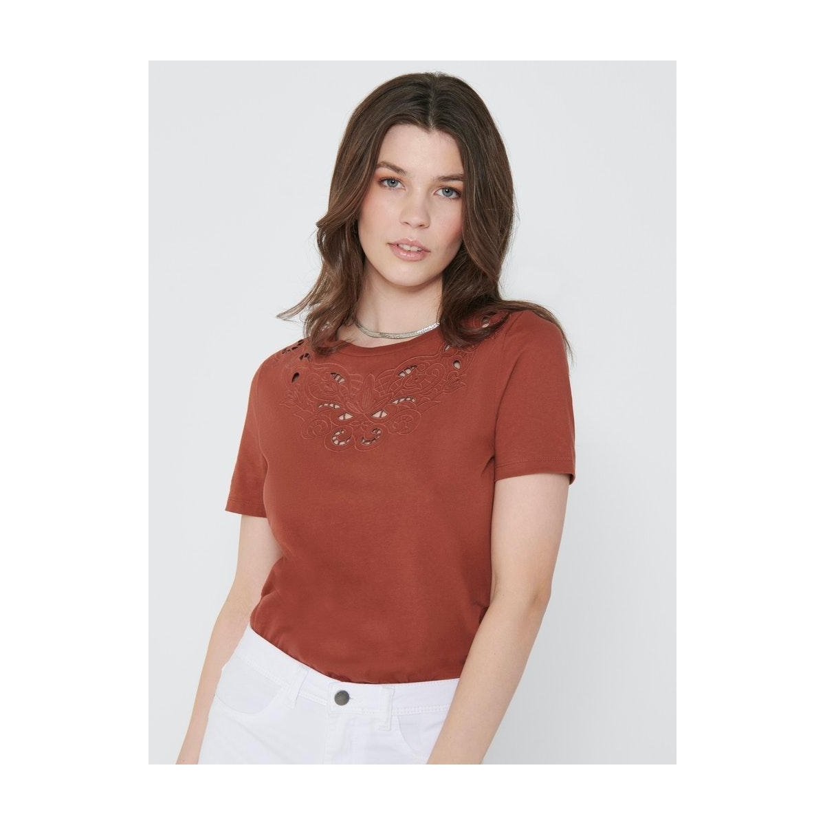 onltheresa life s/s top jrs 15204300 only t-shirt burnt henna